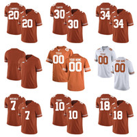 Benutzerdefinierte Texas Longhorns Orange weiß personalisierte genäht jeder Name Nummer 7 Garrett Gilbert 10 Young Limited College-Fußball-Trikots S-6XL
