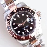 40mm Automatisches schwarzes Zifferblatt High Grad Männer Armbanduhr Herrenuhren mit Roségold Zwei Ton Edelstahl Armband Everose Gold Marker