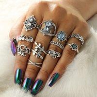 Europee e americane retrò geometrica anello ovale zaffiro, foglie di vite elefante, loto, diamante, 11 pezzi set ring1212