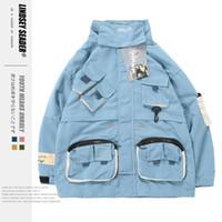 Jaqueta de Seader Homens Lindsey Windbreaker os bolsos dianteiros funcionais Jackets Carga Bomber Zipper Treino Brasão Outwear