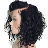 Bythair короткий волнистый боб парик кружева передние человеческие парики волос отбеленные узлы Virgin бразильский полный кружевной парик предварительно сорванный натуральный волос