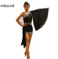 Stage Wear Black Black Slitted Spalla Latin Dance Dress Delle Donne Donne Eight-End Personalizzato Strass Shiny Strass Rumba Gonna Abbigliamento per prestazioni femminili