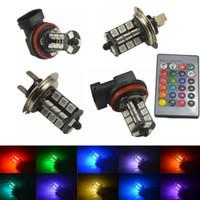 2x RGB Strobe Car Styling RGB LED Auto Car Headlight 5050 LED della lampadina 27 SMD luce di nebbia della lampada della testa con telecomando 9005 9006 H11 H7 1156
