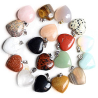 Luckyshine 10 Pcs Lot Heart-shaped Rainbow Natural crystal Gemstone Silver Necklace Pendant Fashion Women Vintage Pendant 20*23 mm