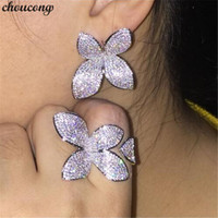 choucong Luxury Flower Ring Pave setting 166pcs 5A Zircon Cz...