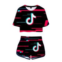 Stück Sets Frauen Zwei 2019 TIK TOK 3D-Druck 2 Stück Outfits für Damen Sweat Anzüge Zweiteiler Top und Shorts Damen Trainingsanzüge