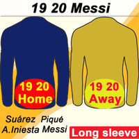 2019 2020 MESSI SUAREZ Long Sleeves Mens Soccer Jerseys PIQU...