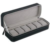 6 فتحة ووتش مربع المحمولة السفر زيبر حالة جامع التخزين مجوهرات صندوق تخزين (أسود)
