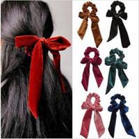 Fille Bandeau Velvet Bow Band cheveux Bande élastique Hairband femme Big Bow Mode ruban Accessoires cheveux Accessoires Bonbons Couleurs Party WY32Q