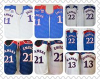Kansas Jayhawks Joel Embiid Basketbol Jersey Mavi Beyaz Josh Jackson 13 Wilt Chamberlain 22 Andrew Wiggin NCAA Ku Kolej Formaları Ucuz
