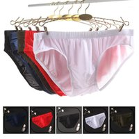 Sous-vêtements Soie de glace Hommes Slips Ultra-mince respirant transparent transparent transparente taille basse taille sexy sous-vêtements élastiques plus taille1