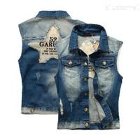Мода мужская джинсовый жилет Винтаж без рукавов промытые джинсы жилет человек Ковбой рваные куртки весна осень 5XL