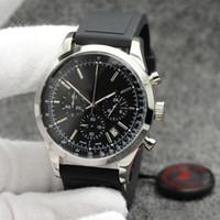 세계 시간 석영 크로노 그래프 시계 우수 Wrtistwatches 뜨거운 판매 트랜스 오션 남성 시계 44MM 블랙 다이얼