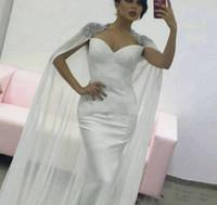 gorra blanca Kaftan árabes vestidos baratos largos árabes vestidos de noche formales con cuentas mangas vestidos de fiesta 2018 de la gasa de la sirena 2019 con Cabo