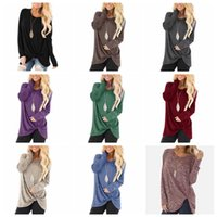 Knotted T- shirts Girls Solid Long Sleeve Shirts Twist Casual...