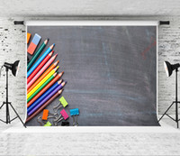 Sogno 7x5ft Back to School fondali fotografia Lavagna colorata Penna Sfondo scuola dei bambini Photo Booth, Scenografia Studio Prop 2.2x1.5m