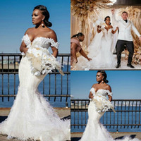 Plus Size Wedding Dresses Feather Lace Appliqued Beads Off T...