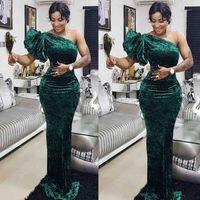 Elegante grüne Eine Schulter MermaidMother der Braut-Kleider Velet Fußboden Länge nach Maß südafrikanischen Prom Dresss VESTIDO De Festo