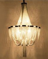 Modern LED Hängande lampa Handgjord vattenfall Ljuskrona Aluminiumkedja Tassel Hänge Lampa Heminredning Fixture PA0028