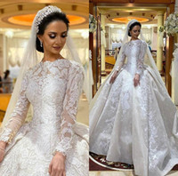 Luxury Modest Ball Gown Wedding Dresses Jewel Neck Lace Appl...