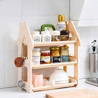 Small House Commodity Shelf Küche Table-board Drei Schichten Cruet Spice Rack Desktop Lagerregal Hierarchie Kleiderbügel Rack SH190709
