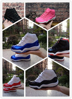 NIKE AIR JORDAN RETRO shoes 2019 Bred XI 11S Basketball Chaussures Gym Rouge Infantile Enfants Enfant Tout-petit Gamma Bleu Concord 11 formateurs garçon fille tn baskets Space Jam