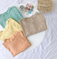 2019 in der Herbstmode Kinder der Junge reine Farbe einfachen Stil Langarm T-Shirt QWP122