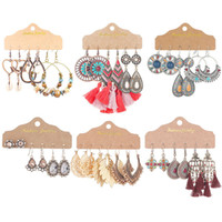 Mujeres bohemias étnicas pendientes de los granos de madera de color turquesa joyería Pendientes Pendientes Fashion geométrica 3 pares / set