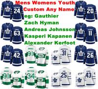 Toronto Maple Leafs Jerseys Frederik Gauthier Jersey Alexander Kerfoot Kasperi Kapanen Johnsson Hyman Hockey Jerseys Womens personalizado costurado