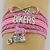 10 Pçs / lote Prata Infinito Amor Motociclistas motocicleta moto Encantos Pulseira de Couro Ajustável Pulseiras para Mulheres Homens Jóias
