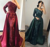 Prickelnde Sequined Mermiad Abendkleid mit abnehmbarem Zug Weinlese-Schulter-lange Ärmel Proam Kleider lang formales Partei-Festzug-Kleid