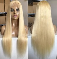 Blonde Full Lace Wigs Blonde Color 613 Silky Straight Chines...