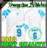 1993 Olympique Marsiglia Retro Commemorate Football Camicia DESCHAMPS PAPIN BOLI DESAILLY Maglia da calcio VOLLER Marseille Football Jersey
