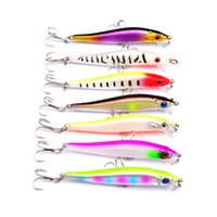 DHL shipping New 7 Colors Plastic 6# 3 Hooks Minnow Fishing ...