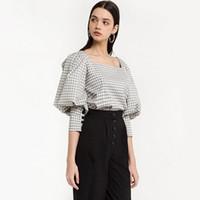 Europa und Amerika Sexy Retro Plaid Muster Square Kragen Shirt undicht Schlüsselbein Blase Ärmel Temperament Slim Shirt Frauen
