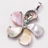 HOPEARL ювелирных изделий Multicolor Paua Abalone Shell Подвеска Natural Sea Shells Bohemian Chic Довольно Красочные 6 шт