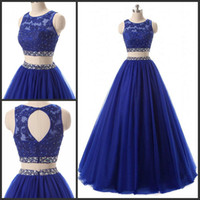 Long Two Piece Crop Top Prom Dresses Tulle Puffy Ball Gown E...
