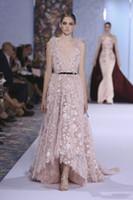 Elie Saab Vestidos Blush Rosa Alta Baixa Vestidos de Noite Sexy Sem Encosto Mergulhando Decote Lace Appliqued Real Fotos Formais Prom Vestidos Celebridade