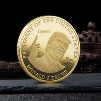 2020 Trump pièce commémorative en argent tête Médaille américaine 45ème Président Donald Trump Badge Souvenir Argent Métal Or Collection non Devise de libellé