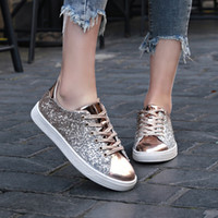 Women' s Fashion Sequins Solid Color ladies shoes sneake...