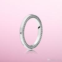 NEUE Klassisches Design Authentisches 925 Silberpunze RING Original Box für Pandora CZ-Diamant-Ringe für Frauen-Mädchen-Set