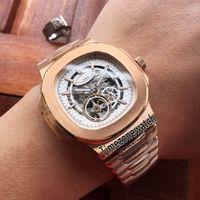 Yeni Nautilus 5712 Rose Gold Beyaz İskelet Dial Tourbillon Miyota Otomatik Erkek İzle Paslanmaz Çelik Saatler 10 Renkler Timezonewatch E14a1