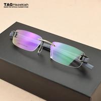 2019 gafas de marca lentes sin rebordes miopía Vintage TR90 marco de los vidrios retro equipo del capítulo las ópticas hombres Gafas de Grau