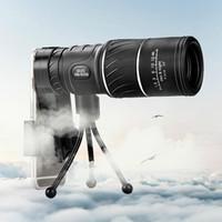 De alta potencia al aire libre 16x52 telescopio único hd doble tono único telescopio óptico de baja visión nocturna luz de zoom senderismo viajes de campamento