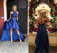 Sexy Royal Blue Hi Low Prom homecoming Dresses Halter Crysta...
