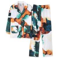 المرأة الجديدة منامة الخريف الشتاء بيجامة مجموعات جيوب ملابس خاصة ملون Pijamas موهير كم طويل قطن نوم مثير أنثى CX200702