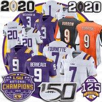 LSU 호랑이 저지 9 Burreaux Odell Beckham Jr. Leonard Fournette Tyrann Mathieu Patrick Peterson 5 Guice 150th Peach Bowl Champions Jerseys