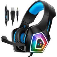 Hunterpider v1 verdrahtete PC-Gaming-Headset-Kopfhörer 7 Farbe LED leuchtet niedrige Verzerrung mit MUTE-Taste Lautstärke-Mikrofon für PS4-PC
