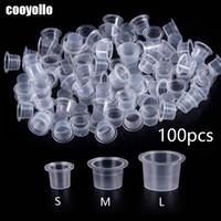 100pc S / M / L en plastique jetables d'encre de tatouage de Microblading tasses maquillage permanent Pigment support clair chapeau de récipient accessoire de tatouage