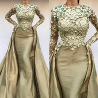 2020 Mermaid Prom Dresses With Detachable Skirt 3D Floral Ap...